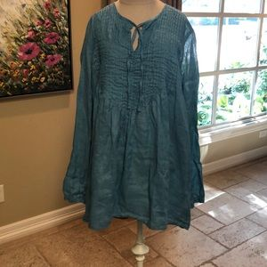 CP Shades light blue/turquoise linen tunic